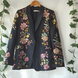 Alice + Olivia denim blazer with floral embroidery